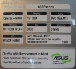 характеристики Asus A9RP
