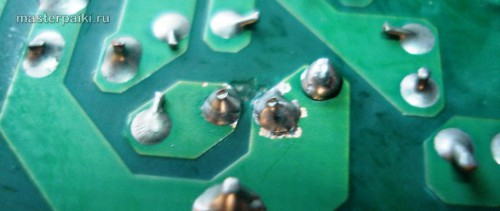 смываем флюс, откусываем лишние концы и видим чистые выводы SPX-6500P1Z