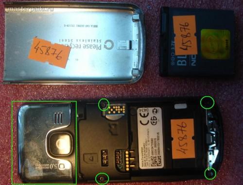снимаем заднюю крышку и аккумулятор Nokia 6700