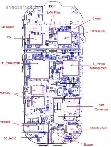 расположение микросхем на плате мобильного телефона Motorola C113A
