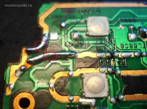 пайка припоем и усиление перемычками из провода дорожек платы переносного DVD-плеера Panasonic DVD-LS83