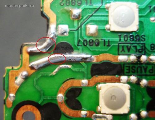 крупный вид пайки платы переносного DVD-плеера Panasonic DVD-LS83 после ремонта