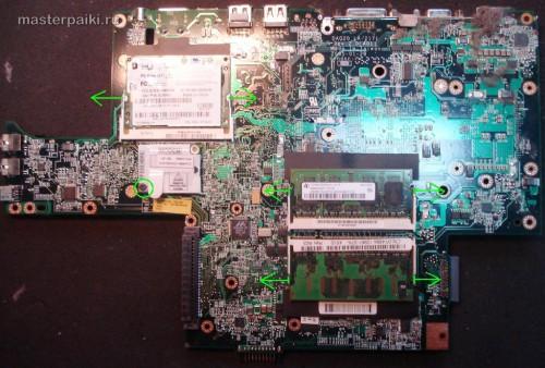 обратная сторона материнской платы ноутбука Dell Inspiron 9300