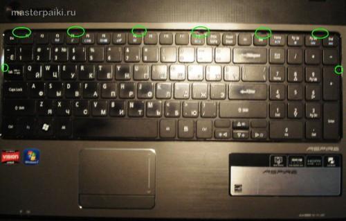 вид на клавиатуру ноутбука Acer Aspire 5551