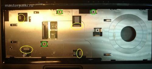 откручиваем под клавиатурой ноутбука Asus X55S