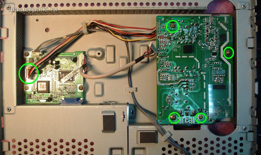 16--электронные платы монитора LG L1530S для определения неисправности ЖК мониторов