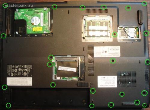 откручиваем крышки ноутбука Acer Aspire 9410z
