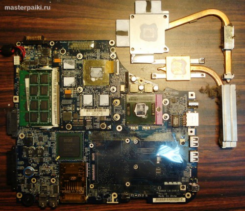 снятая система охлаждения ноутбука Toshiba Satellite A200