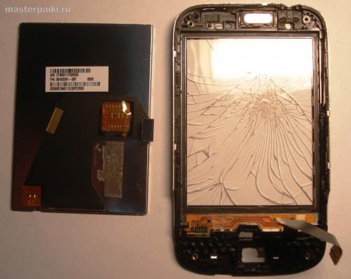 14- дисплей и разбитый тачскрин смартфона HTC Wildfire A3333