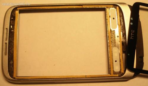 16- наклеить двусторонний скотч таскрина смартфона HTC Wildfire A3333