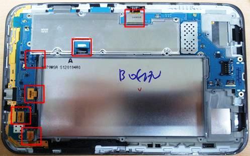 снимаем разъемы платы Samsung Galaxy Tab2 P 3100
