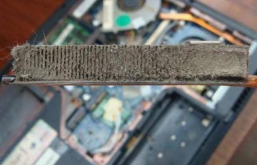 Почему греется ноутбук - Пыль на радиаторе охлаждения ноутбука