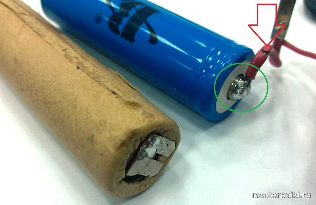как припаять к литиевой батарее провод многожильный