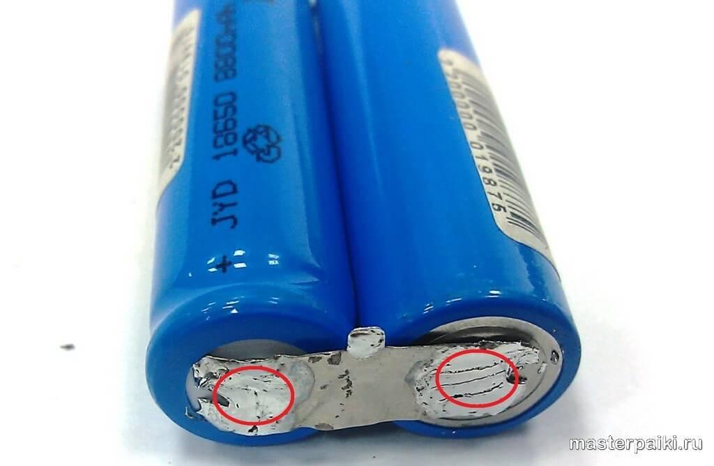 пайка контактов литиевых батарей своими руками