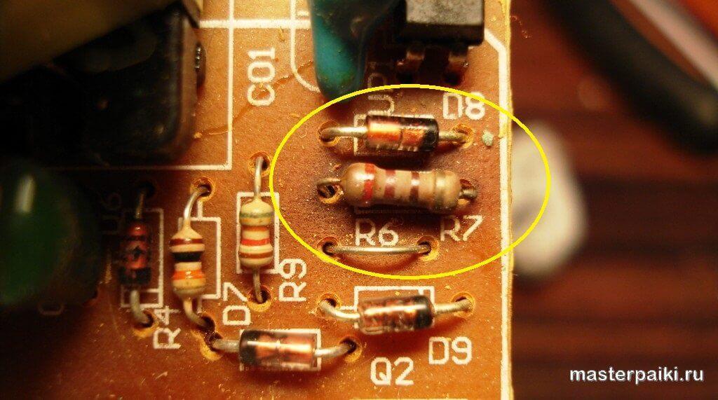 замена резистора на плате DVD плеера ONIKS DVD H412