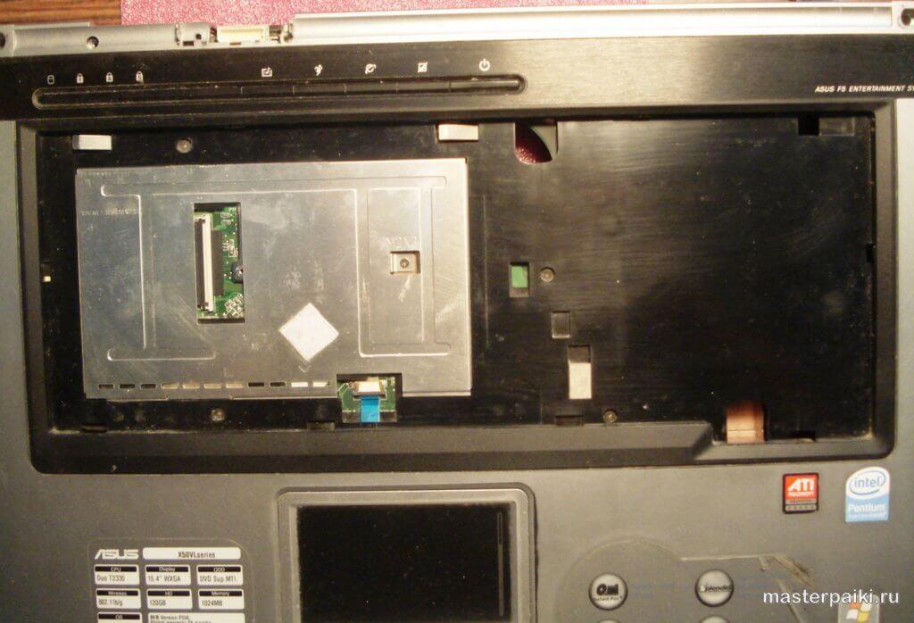 выкрутить винты под клавиатурой ноутбука Asus X50VL