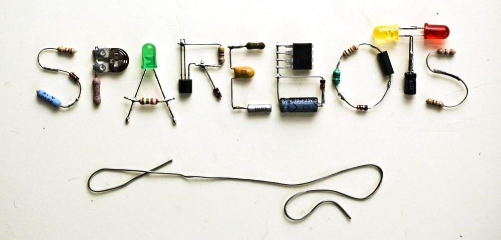 логотип sparebots в виде спаянных светодиодов и резисторов