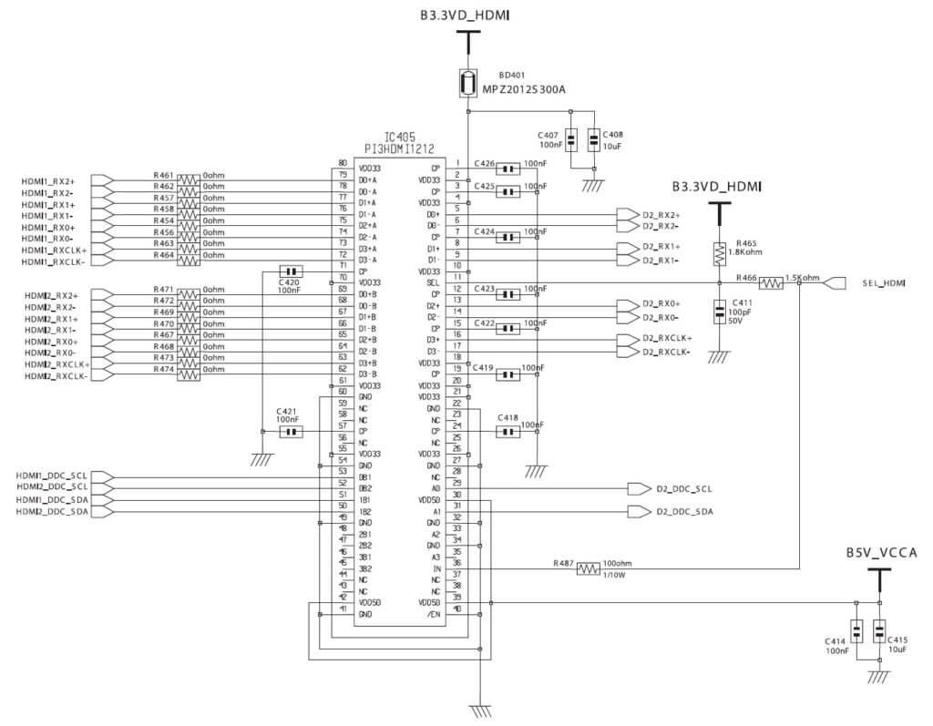 распиновка и обвязка микросхемы PI3HDMI