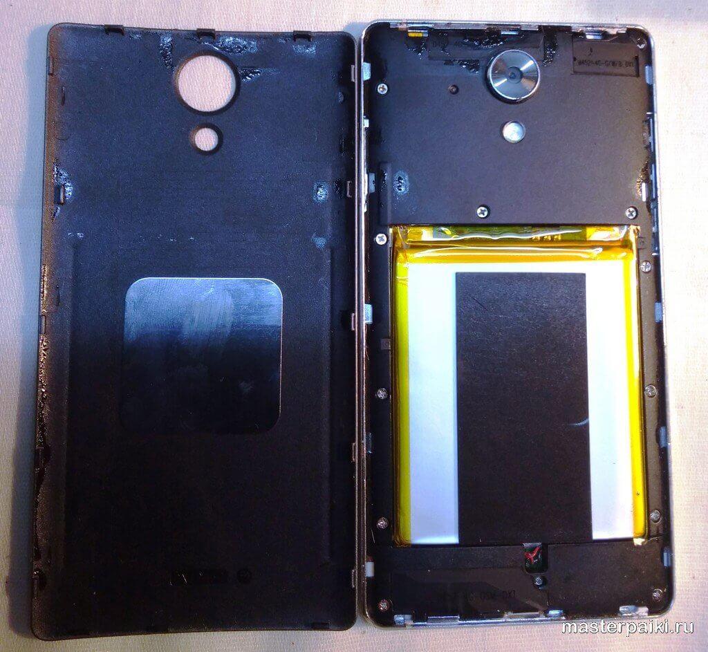 смартфонVertex Impress RA 4G со снятой задней крышкой