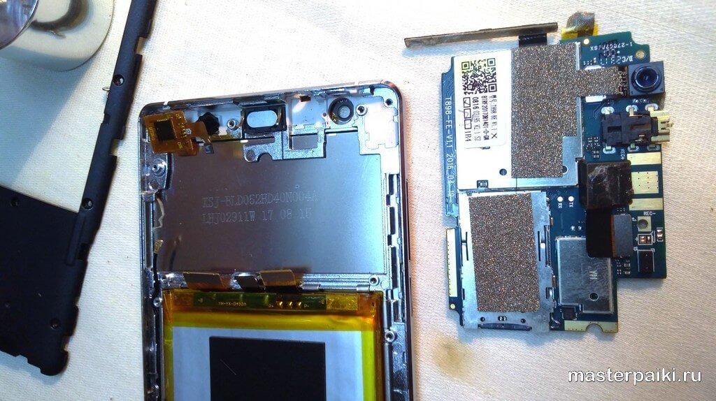снятая плата смартфонаVertex Impress RA 4G