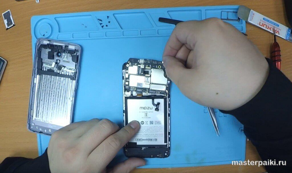 снять плату Meizu M5 Note