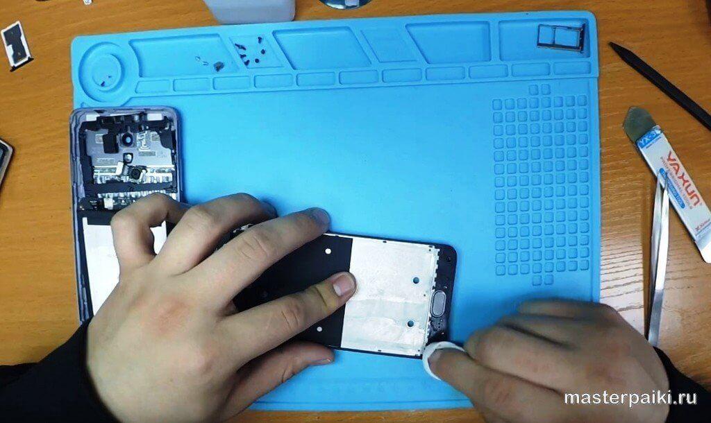 очистить старый клей из под дисплея Meizu M5 Note