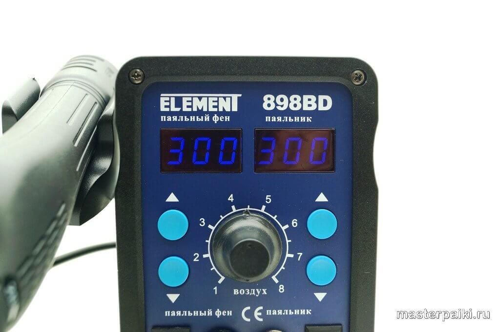 надписи термовоздушной паяльной станцииELEMENT 898BD