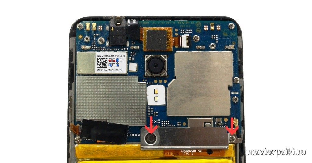 открутить планку внутри Meizu M5s
